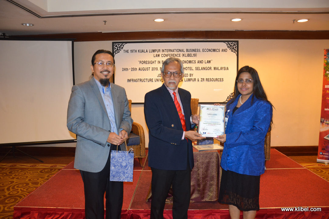 Dr. Thesara Wins Best Paper Awards at the 19th Kuala Lumpur International Business, Economics and Law Conference 2019
