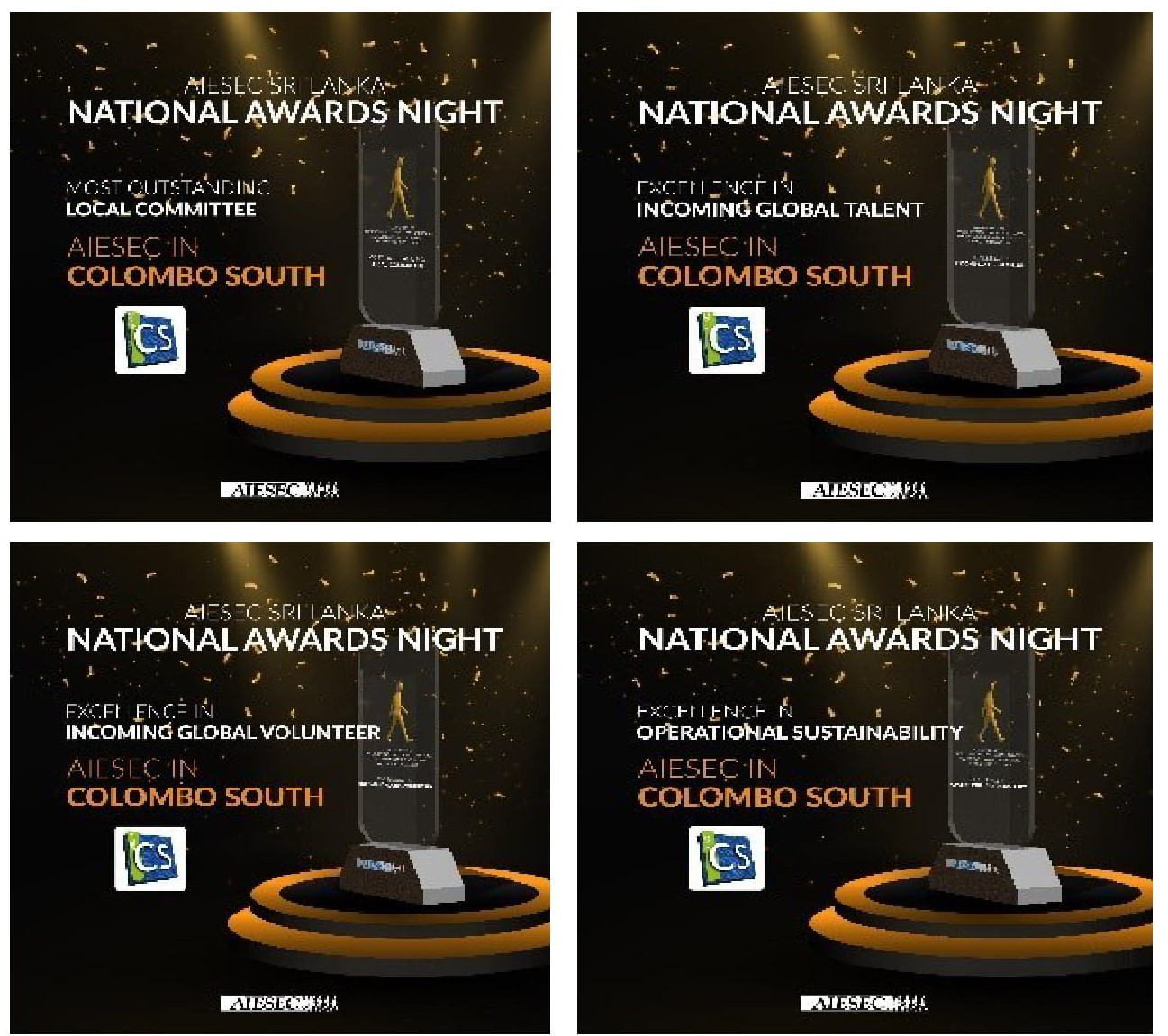 AIESEC in University of Moratuwa wins 4 Awards at the at the 2020 National Awards Night of AIESEC in Sri Lanka