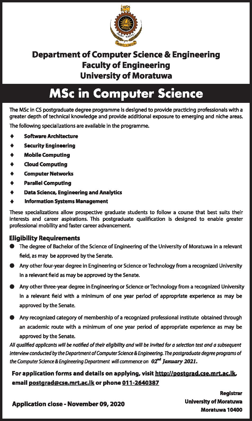 Msc in CSE