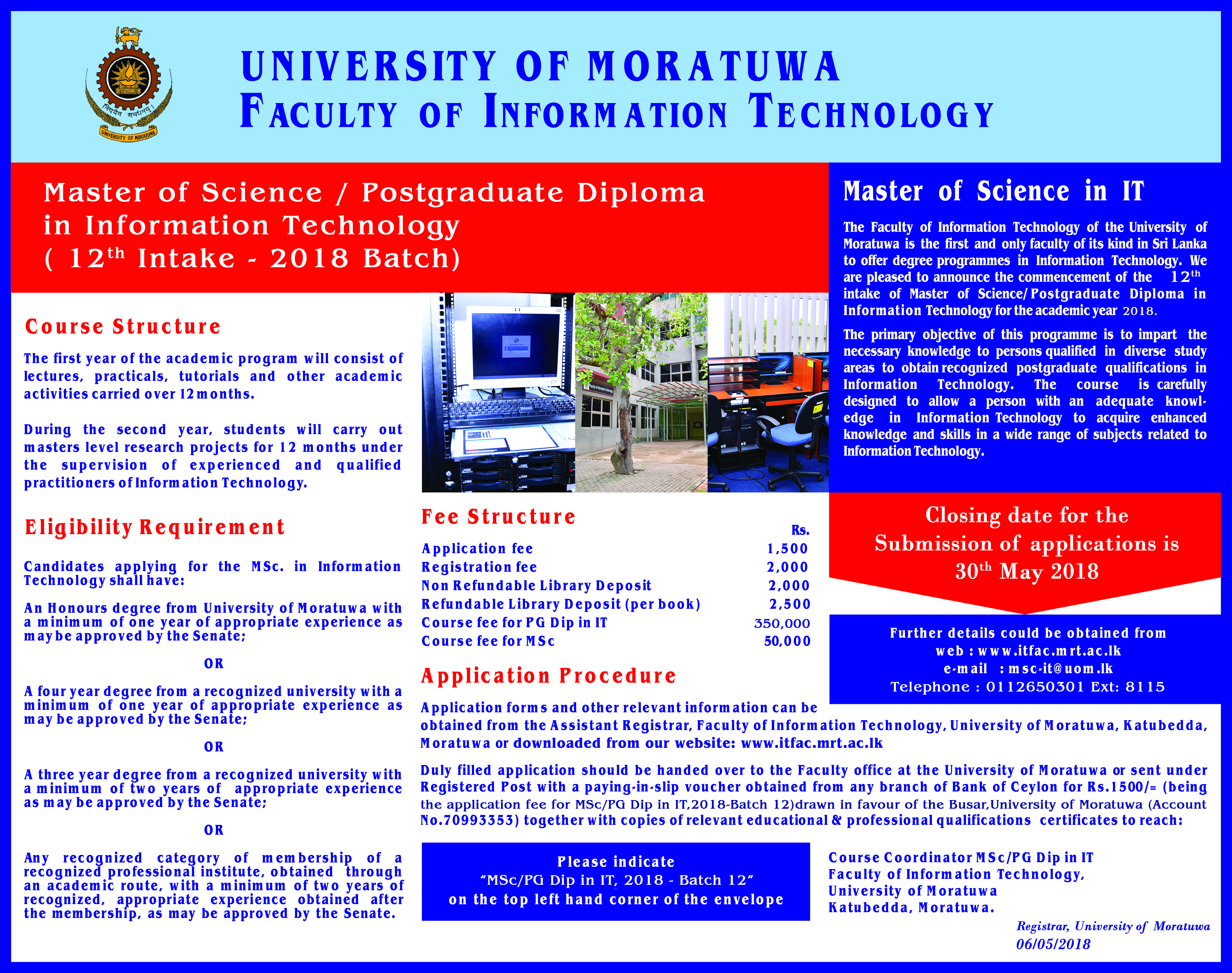 Master of Science / Post Graduate Diploma  in  Information Technology