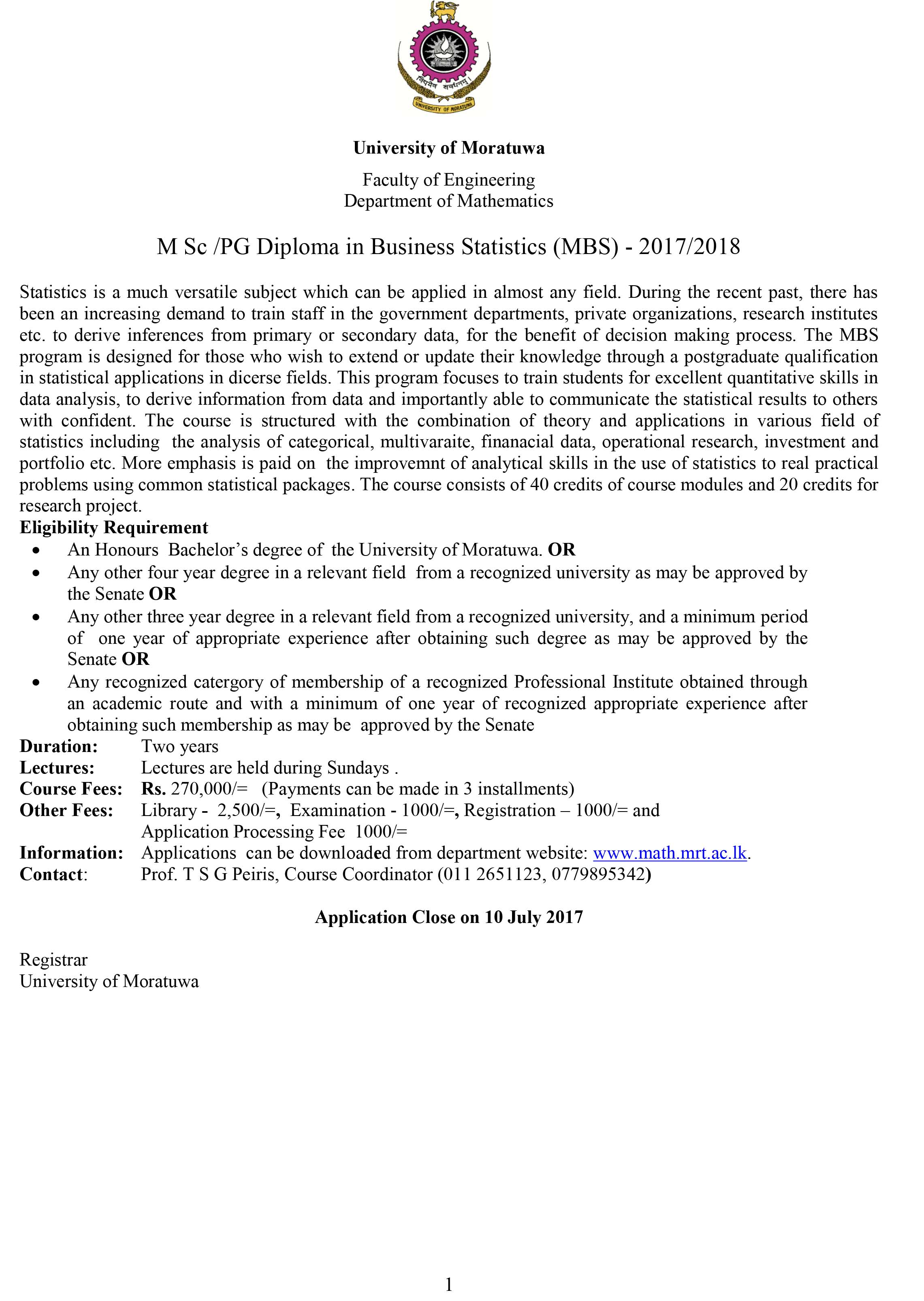 MSc / PG Diploma in Business Statistics (MBS) - 2017/2018