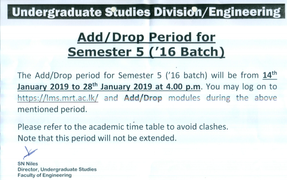 Add Drop Period for Semester 5 16th Batch