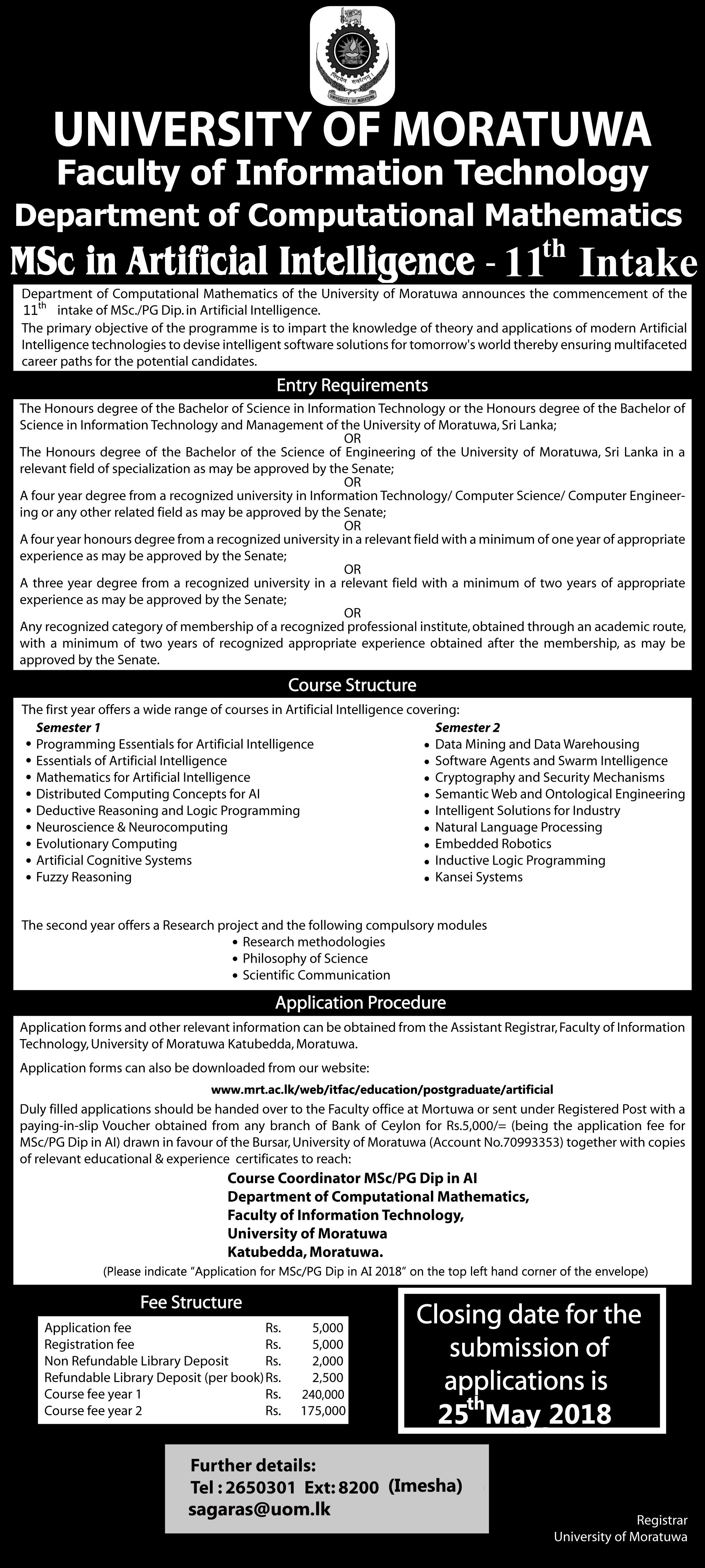MSc. in Artificial Intelligence Advertisement