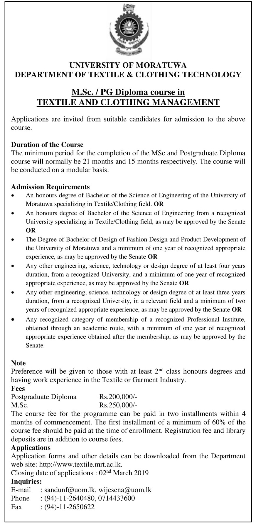 MSc/PG Diploma in Textile and Clothing Management