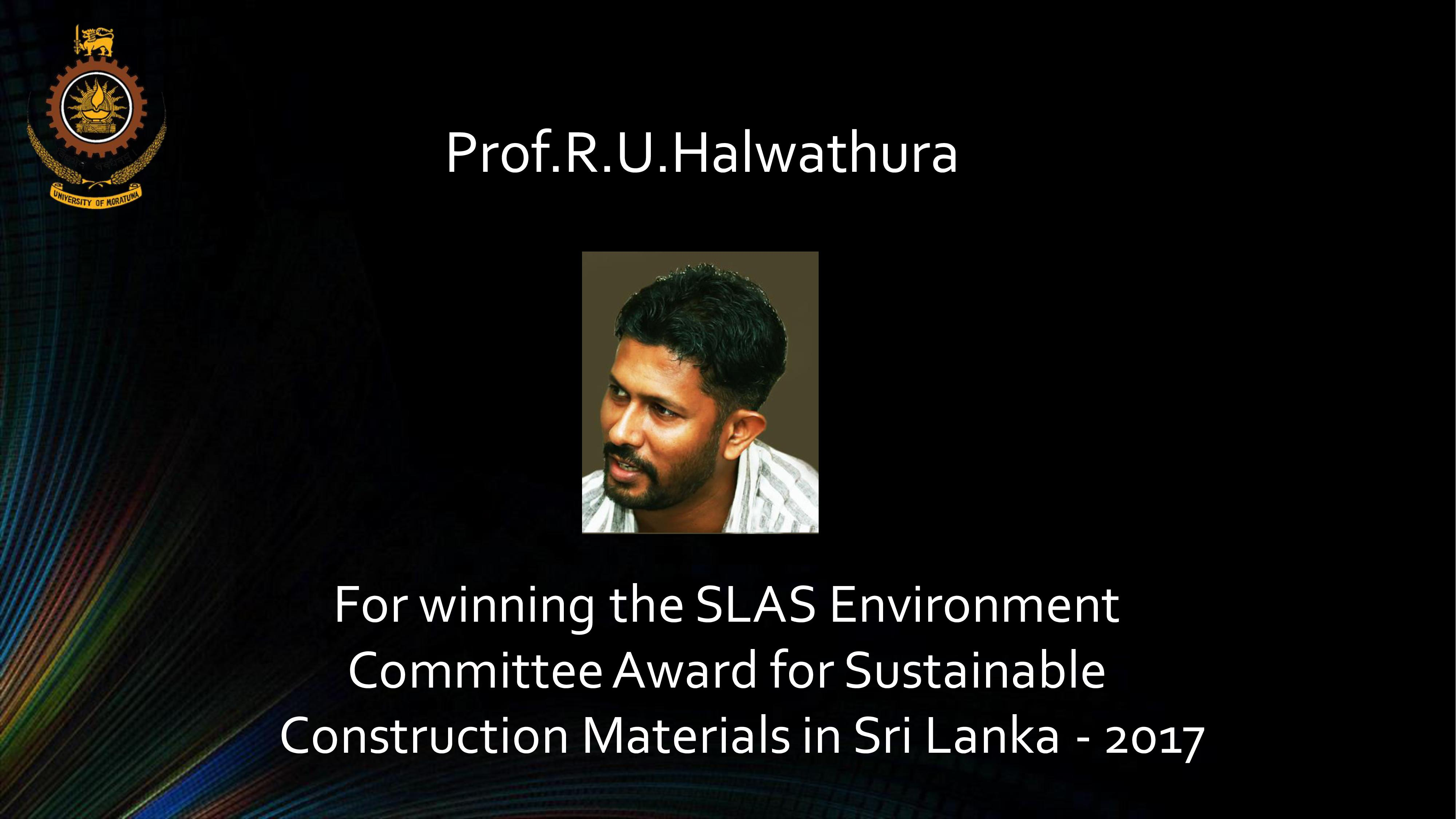 Winning the SLAS Environment Committee Award for Sustainable Construction Materials in Sri Lanka