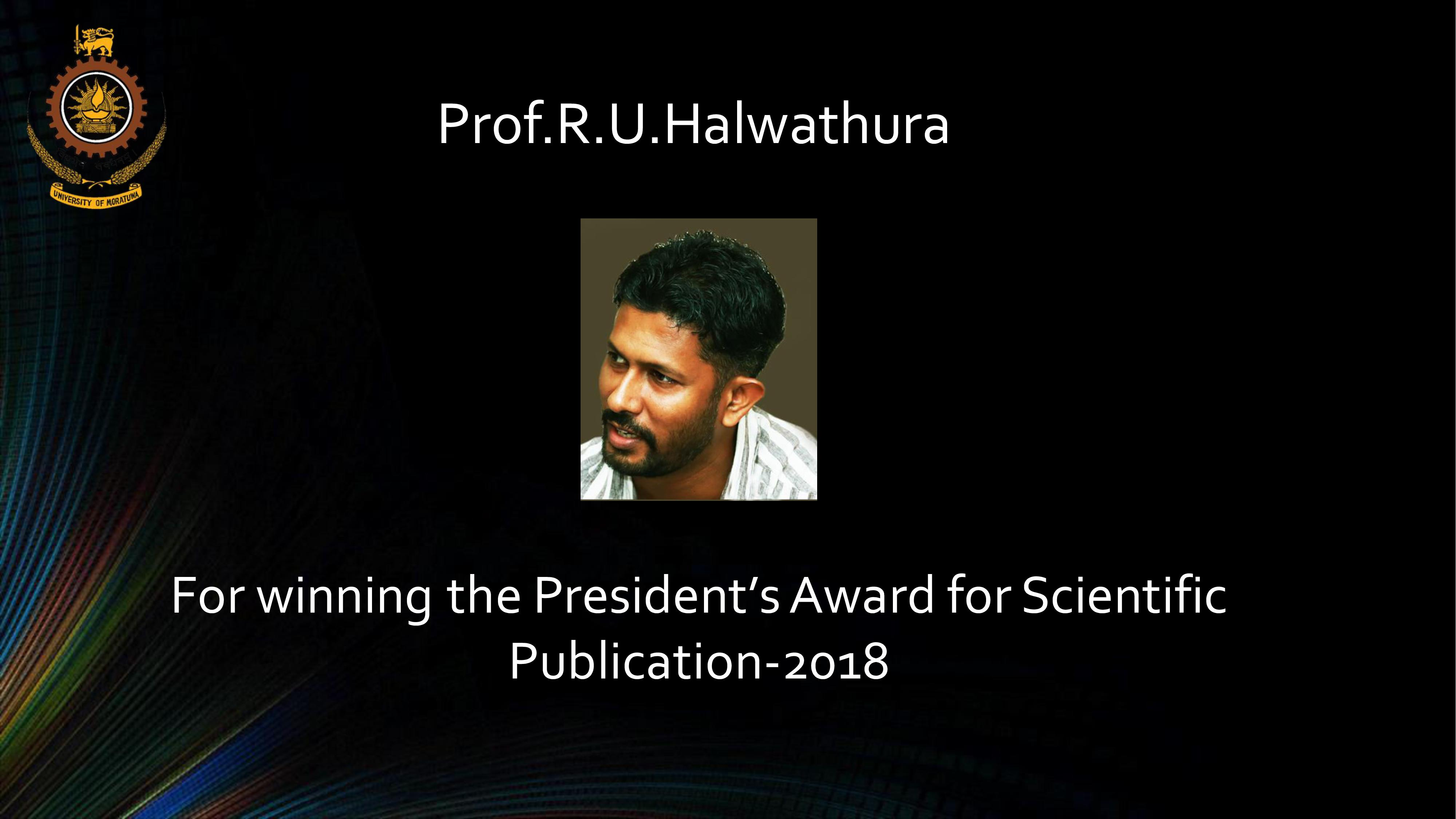Winning the President's Award for Scientific Publication 2018