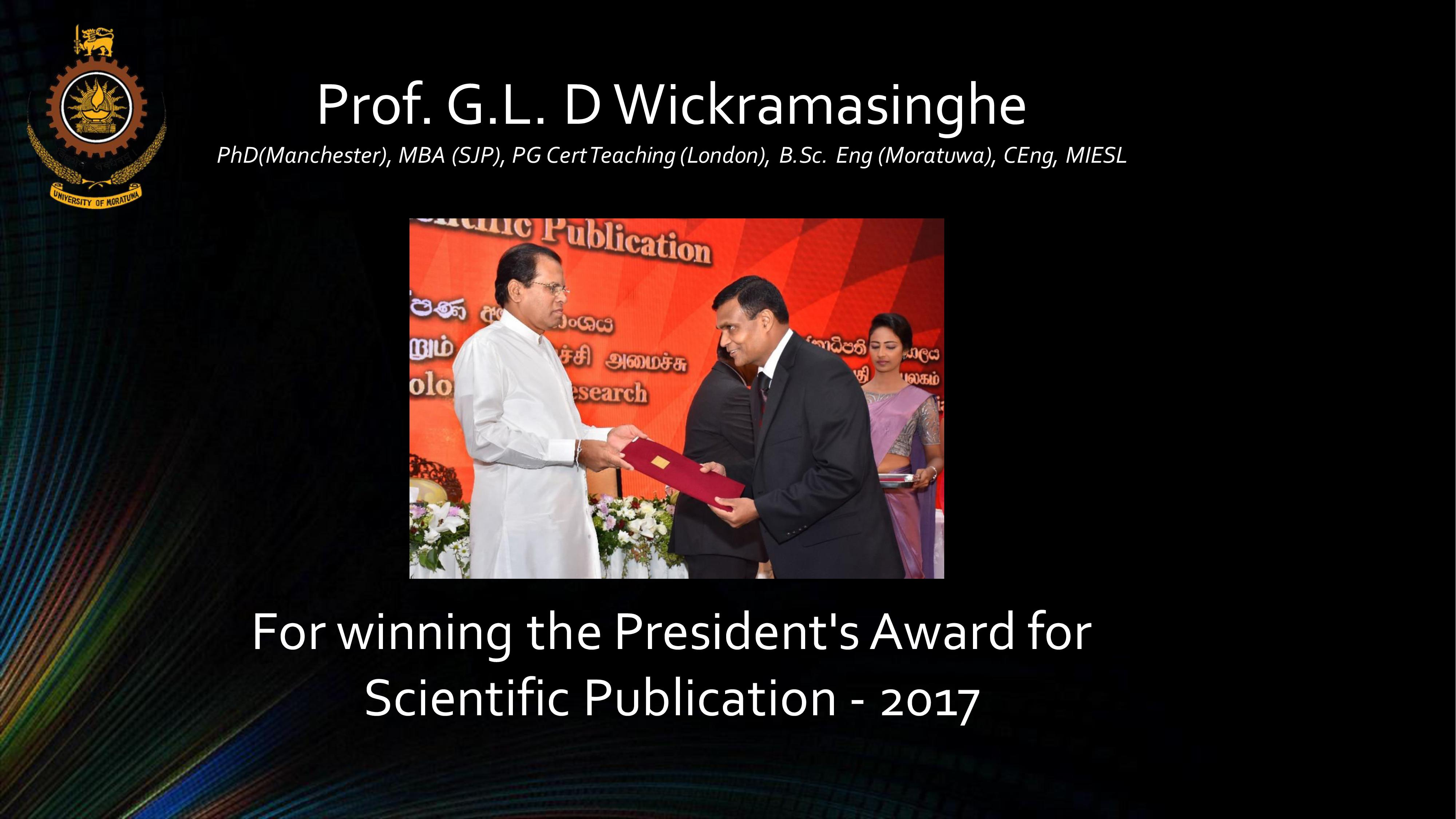 Winner of the President's Award for Scientific Publication 2017