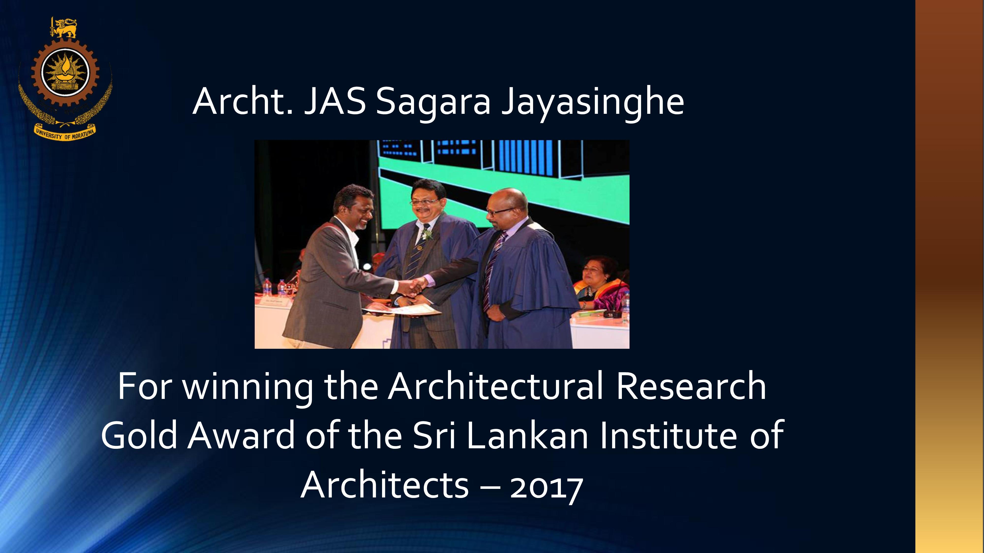 Winner of the Architectural Research Gold Award of SLIA 2017
