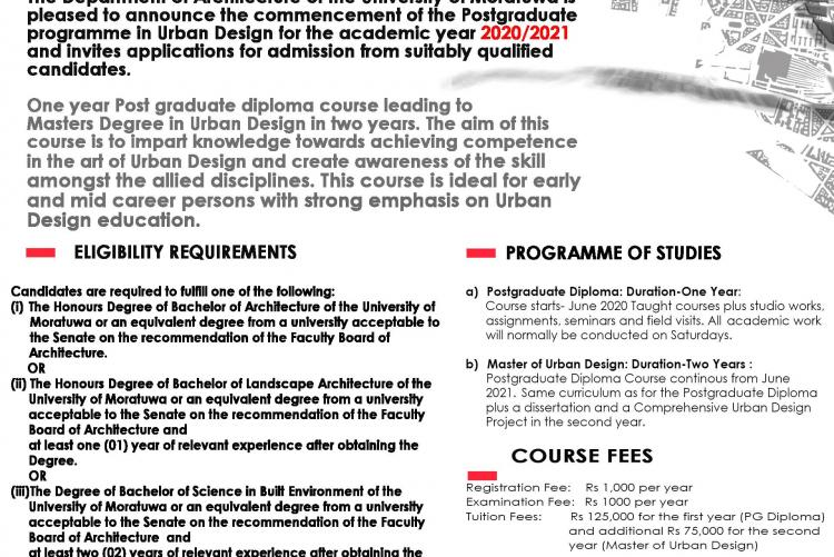 MSc / PG Diploma in Urban Design, Intake 2020/2021