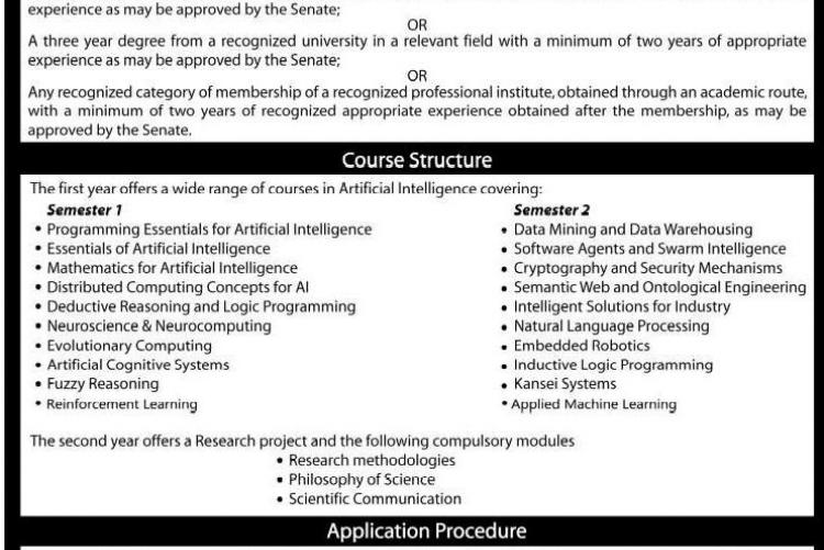 MSc in Artificial Intelligence - 13th Intake