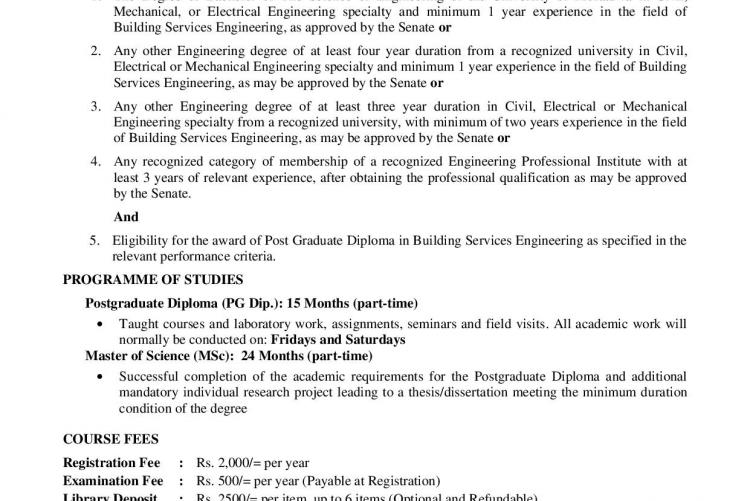 MSC/PG Diploma in Building Service Engineering