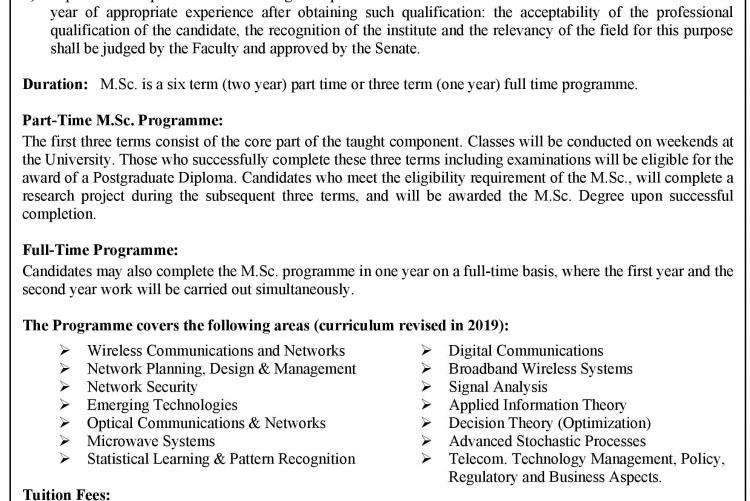 PG Diploma/MSc in Telecommunications 2021