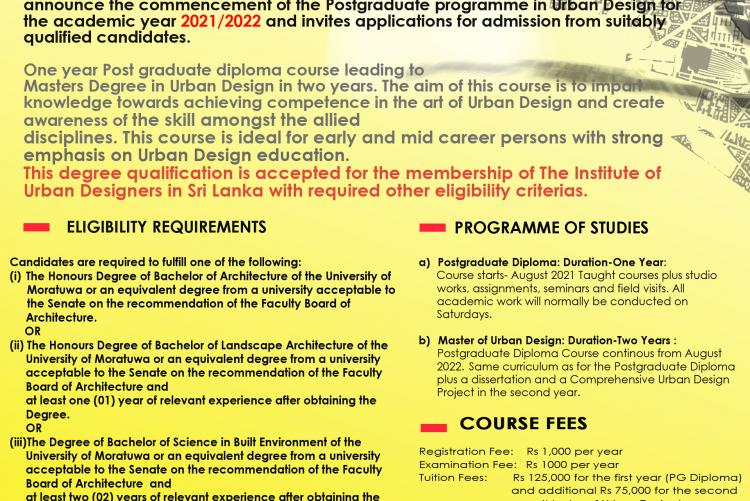 MSc /PG Diploma in Urban Design