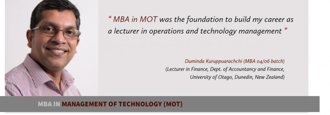 Testimonials MBA in MOT and Entrepreneurship
