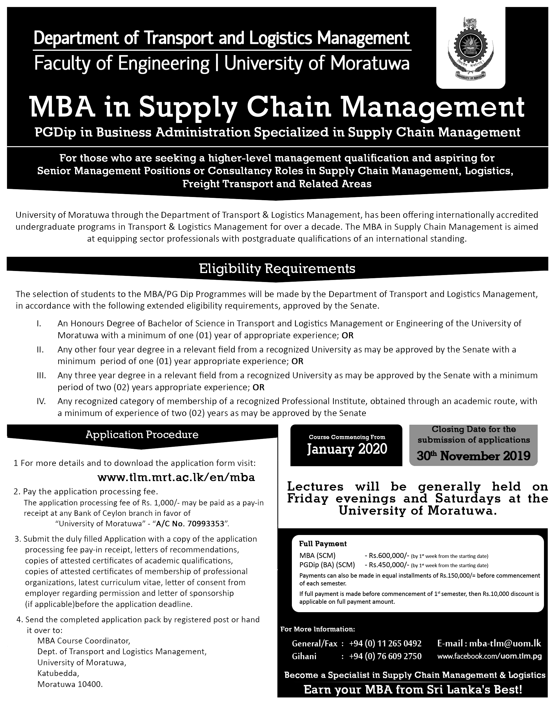 COMMENCEMENT NEW INTAKE 2020 JANUARY - MBA IN SUPPLY CHAIN/ PG DIPLOMA